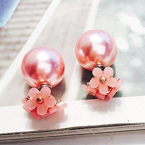 (Meenanoom #4 Fashion Women Jewelry Double Sided Pearl Daisy Earrings Big Ball Beads Ear Stud)