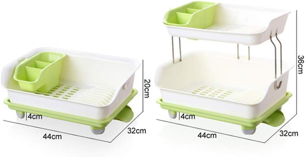New 2 Tier Dish Rack Plastic Kitchen Storage Organizer 360 Degree Drainage Spout