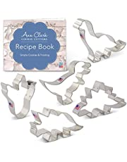 Ann Clark Cookie Cutters Dinosaur Cookie Cutter Set with Recipe Book - 5 Piece - Triceratops, Stegosaurus, T-Rex, Brontosaurus and Dinosaur Footprint- - USA Made Steel