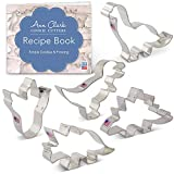 Ann Clark Cookie Cutters 5-Piece Dinosaur Cookie Cutter Set with Recipe Booklet, Triceratops, Stegosaurus, T-Rex, Brontosaurus and Dinosaur Footprint