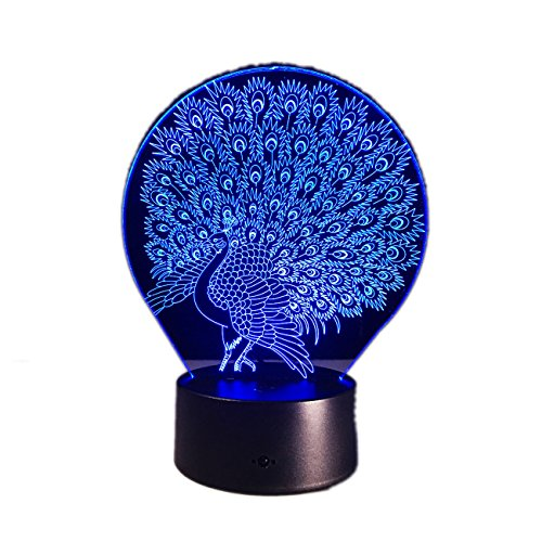 Price comparison product image 3D Night Lamp Animals Peacock Shapes Cute LED Illusion Lamp Gift For Children Bedroom Desk Table Night Light