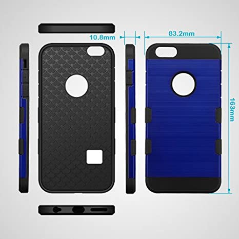 e276d11f3064 Amazon.com  HD Accessory Mybat Military Grade TUFF Trooper Dual Layer Hybrid  Case for iPhone 6 Plus   6S Plus - Brushed Blue  Cell Phones   Accessories