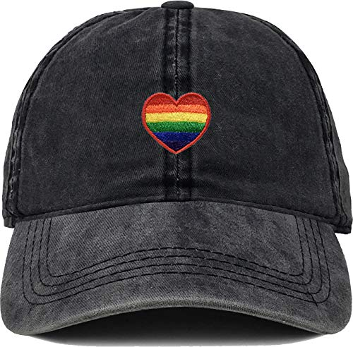 (H-214-RH06-W Dad Hat LGBTQ Gay Pride Cap - Rainbow Heart WASHED black)