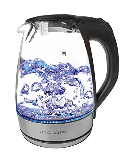 Precision 1.7L Cordless Glass Electric Hot Water BPA Free Tea Kettle Blue LED Stainless Steel (50 oz, Black) by LavoHome