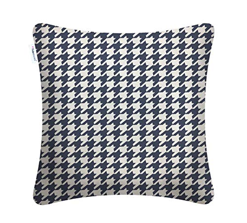 Fabritones Decorative Indoor Outdoor Accent Pillows Patio Cushion Houndstooth Square Throw Pillow with Insert Navy 1818 - Houndstooth Accent