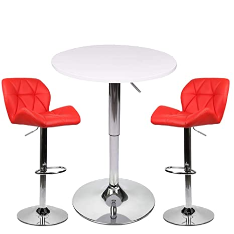 Amazon.com: Mesa alta de bar, MDF, Blanco y rojo: Kitchen ...