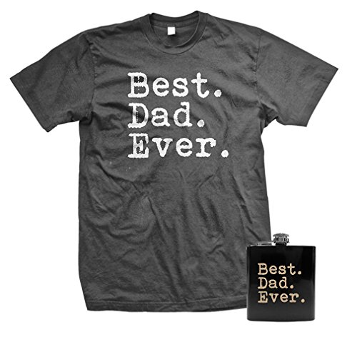 Best. Dad. Ever. - Funny Fathers Day Gift T-SHIRT + FLASK COMBO, XL, Charcoal Worlds Best Dad