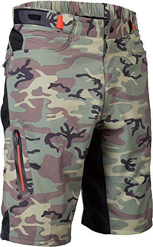 - ZOIC Men's Ether Cycling Shorts, Green Camo, Medium