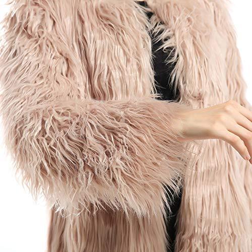 Frente con de Abertura Khaki cárnico Invierno de de y de sólida en Piel Larga Size M Abrigo Manga el cálida Color sintética 4zwvWX