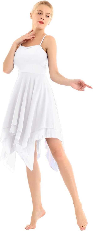 Rot und Blau Schwarz iEFiEL Damen Ballettkleid Ballett Trikot Lyrical Tanzkleid Tr/äger Ballettanzug mit Chiffon Rock Lange Ballerina Kost/üm in Wei/ß