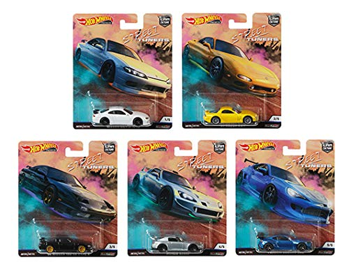 Hot Wheels 2019 Car Culture Street Tuners Series Set of 5, 1/64 Scale Diecast Model Cars