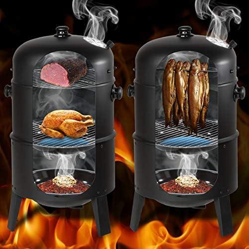 TecTake BBQ GRILL BARBECUE CHARBON DE BOIS FUMOIR SMOKER - diverses tailles au choix - (3en1 BBQ Fumeur/grill | No. 400820)