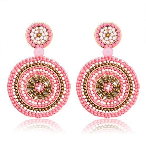 Beaded Artisan Jewelry - CEALXHENY Bead Drop Earrings Statement Beaded Round Earring Studs Bohemia Statement Earrings for Women Girls (B Pink)