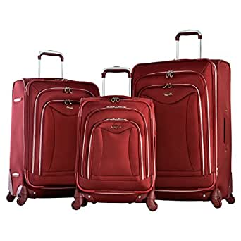 Olympia Luxe 3 Piece Expandable Spinner Set, Burgundy