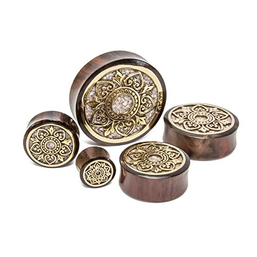 Elementals Organics Brass Indonesian Flower Sono Wood Plug with Marble Inlay - Price Per 1-38mm ~ 1-1/2