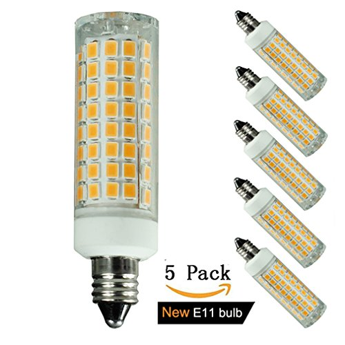 [5-pack] E11 led bulb, 75W or 100W Equivalent Halogen Replacement Lights, Dimmable, Mini Candelabra Base, 1000 Lumens Warm White 3000K, AC110V/ 120V/ 130V, Replaces T4 /T3 JD Type clear e11 (120 Volt T4 E11 Base)