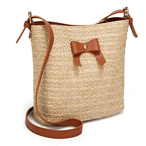 Bow Bag Crossbody Brown Casual Bag Fahsion Bags Bucket Woven Buckle Women Pink Shoulder Straw Bag tF1wSqn