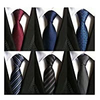 WeiShang Lot 6 PCS Clásico Corbata de seda 100% corbata de seda tejida para hombre JACQUARD Corbatas (Estilo 14)