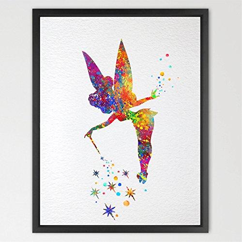 dignovel Studios Tinker Bell Print Kinder Aquarell Kunst-Print Wall Art Poster Home Decor Wandbehang Kinderzimmer Mädchen Room Art Weihnachten Geschenk Geburtstag Geschenk n030-unframed