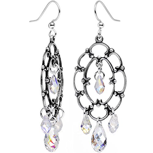 Body Candy Handcrafted Clear Drop Frame Chandelier Earrings Created