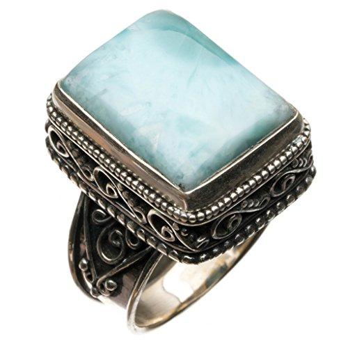 Vintage Costume Jewellery New Zealand (StarGems(tm) Natural Caribbean Larimar Vintage 925 Sterling Silver Ring, US Size 8.25)