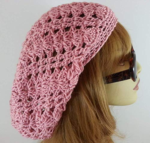Rose Pink Slouchy Beanie Lacy Crochet Hat for Women