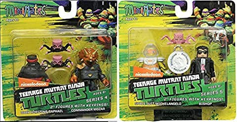 Comic Heroes Marvel Minimates Teenage Mutant Ninja Turtles Series 2 inch Mini Figure - Exclusive Space Suit Michelangelo and Bishop + Dark Horizons Raphael and Commander Mozar with (Marvel Minimate Black Widow)