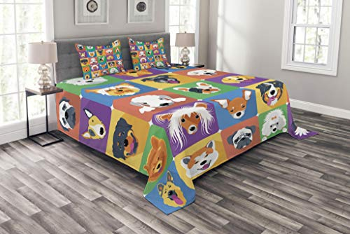 Ambesonne Dog Bedspread, Dog Breeds Profiles Pets Shepherd Terrier Labrador Domestic Animals Illustration, Decorative Quilted 3 Piece Coverlet Set with 2 Pillow Shams, Queen Size, Green Purple (Bedspread Dog)