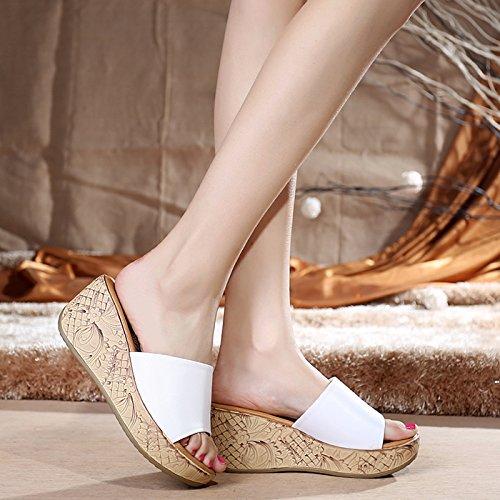 pelle casual estiva di sandali sandali pantofole e Sandali con white antiscivolo moda donna in casual YMFIE zeppa wqYIH0xz