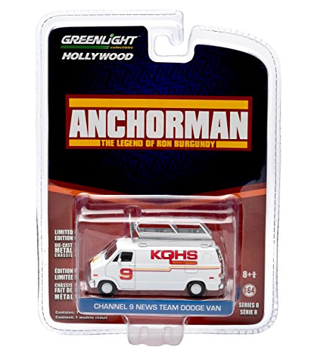 KQHS CHANNEL 9 NEWS TEAM DODGE VAN from the 2004 comedy ANCHORMAN GL Hollywood Series 8 2014 Greenlight Collectibles Limited Edition 1:64 Scale Die Cast Vehicle