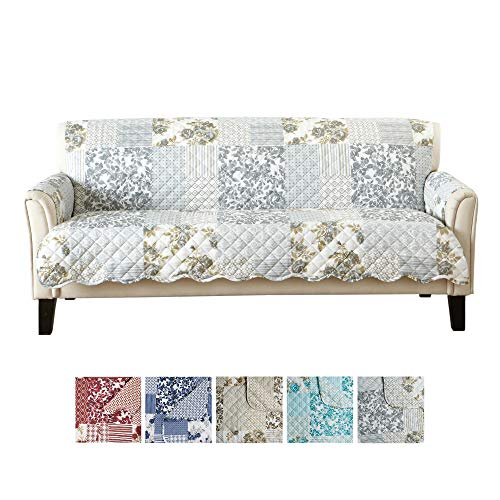 Patchwork Scalloped Printed Furniture Protector. Stain Resistant Couch Cover. (74
