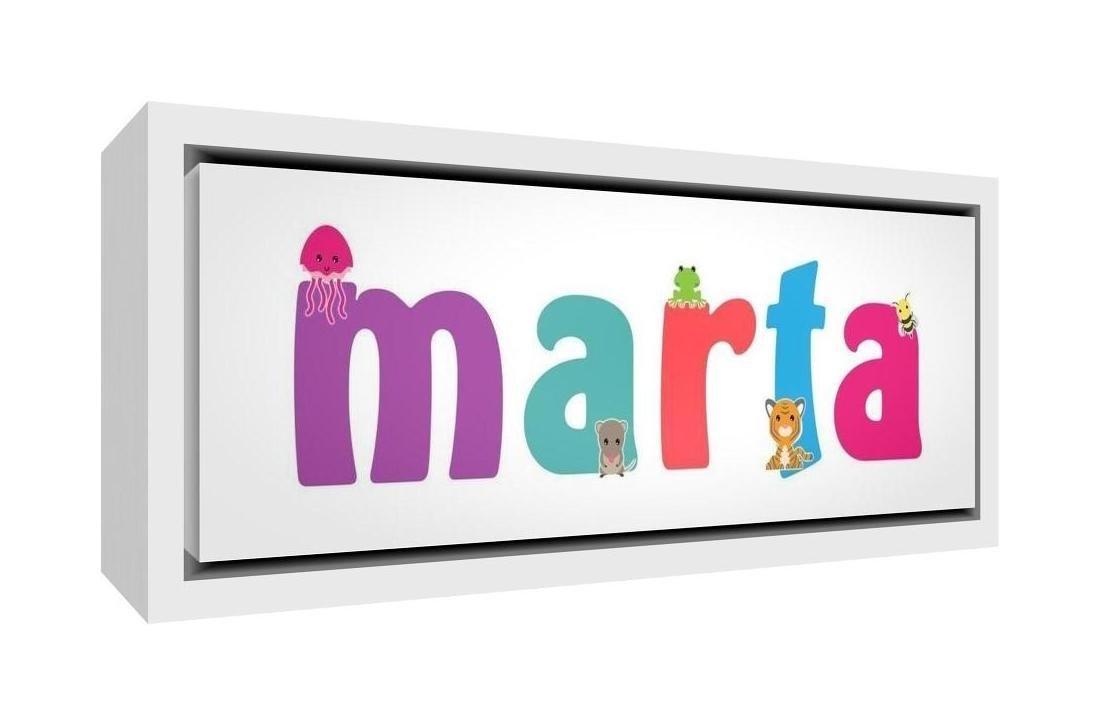Little Helper LHV-MARTA-1542-FCWHT-15IT Stampa su Tela Incorniciata Legno Bianco, Disegno Personalizzabile con Nome da Ragazza Marta, Multicolore, 19 x 46 x 3 cm Feel Good Art