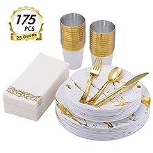 vplus 175PCS Gold Marbling Plastic Dinnerware, Disposable Dinnerware Sets, Include 25 Dinner Plates,25 Dessert Plates,25 Forks,25 Knives,25 Spoons,25 Cups,25 Napkins (White/Gold)