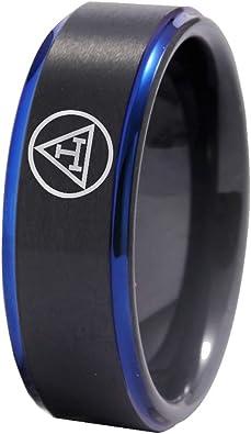Black Blue Tungsten Masonic Design Rings FREE Engraving