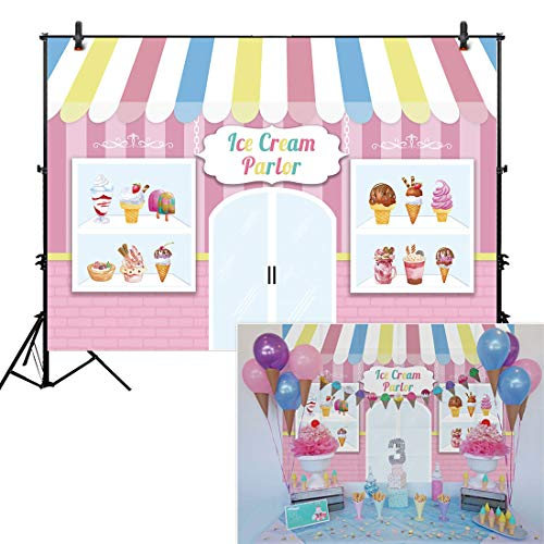Allenjoy 7x5ft Ice Cream Parlor Shop Backdrop for Girl's Baby Shower 1st First Birthday Party Sweets Shoppe Cake Table Decor Event Decorations Photo Booth Background Supplies Props Pictures Drop