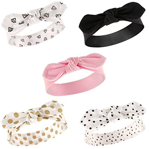 Hudson Baby Baby Girls' Cotton Headbands, Gold Dot 5 Pk, 0-24 - Hair Dots Bands
