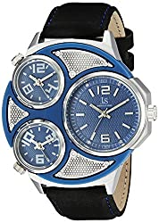 Joshua & Sons Men's JX105SSBU Silver Triple Time Zone Quartz Watch with Blue and Gray Dial and Black Strap