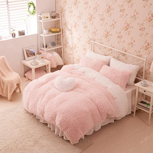 Pink And White Duvet Cover Set Princess Bedding Girls Bedding Women Bedding Gift Idea, Queen Size (Queen Size Pink Princess Bedding)