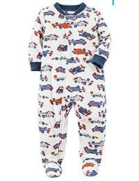 Carter's Baby Boys' Santa Print Fleece Zip up Sleep Play