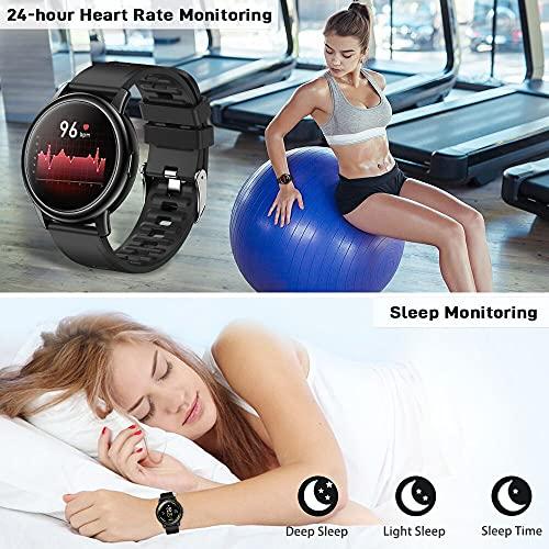 Smartwatch Hombre, Reloj Inteligente con Monitor de Sueño Oxígeno Sanguíneo Presión Arterial, Pulsómetr, Pulsera Actividad con Calorías Podómetro, Cronómetros, IP67 Impermeable Fitness Tracker