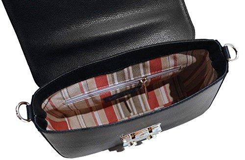 Women's Shoulder in Black Crossbody Leather Sapri Saffiano Floto Bag Handbag PqZwrPT