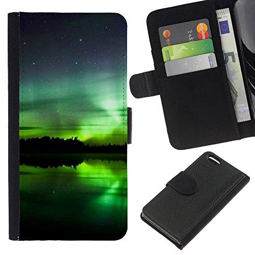 Funny Phone Case // Cuir Portefeuille Housse de protection Étui Leather Wallet Protective Case pour Apple Iphone 5C /Aurore boréale/