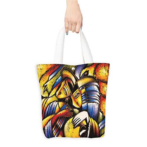 Custom Printed Grocery Tote Bag oil paint face