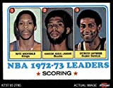 1973 Topps # 153 NBA Scoring Leaders Nate Archibald / Kareem Abdul-Jabbar / Spencer Haywood Kansas City / Milwaukee / Seattle Kings / Bucks / SuperSonics (Basketball Card) Dean's Cards 5 - EX Kings / Bucks / SuperSonics