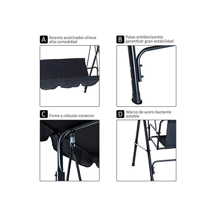 51Fl4m7BZnL ✅Columpio de jardín elegante con bordes decorativos en el techo y el asiento. Ideal para colocar en el exterior, jardín o terraza. Es perfecto para disfrutar del tiempo libre con familiares y amigos ✅Ángulo del techo regulable para la protección del sol. La tela es de poliéster resistente al agua y repelente de suciedad ✅Estructura de acero con recubrimiento anti-corrosivo y anti-oxidante, robusta que garantiza mayor seguridad. Patas con pies antideslizantes de goma que ofrece mayor estabilidad.