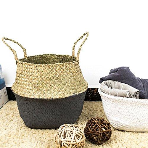 WOVELOT Rattan Basket Straw Basket Garden Foldable Flower Pot Hanging Wicker Storage Basket Woven Seagrass Basket Rattan Flower Vase Organization-Size S-Gray color