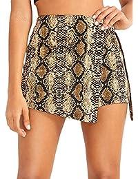 WDIRA - Mini Pantalones Cortos para Mujer, Cintura Alta, Banda en O, Piel de Serpiente, Multicolor, XS