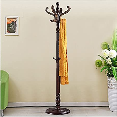European Style Solid Wood Coat Racks Indoor Landing Bedroom Hangers Modern Assembly Hall Home Clothes Hanger Color Brown