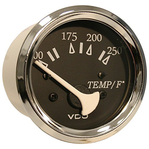 VDO Allentare Black 250°F Water Temperature Gauge - Use w/Marine 450-29 Ohm Sender - 12V - Chrome Bezel