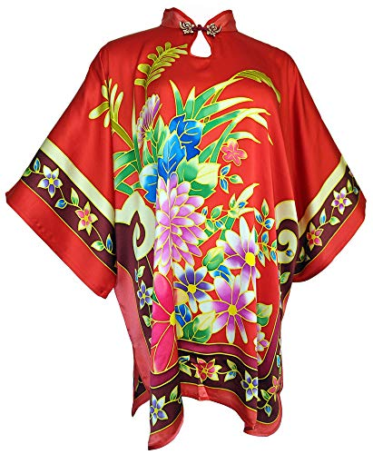 Amazing Grace Elephant Co. Chinese Style Modern Qipao Cheongsam Dress Top Hand Painted Silk MuMu Assorted Design (Petal Power Red)